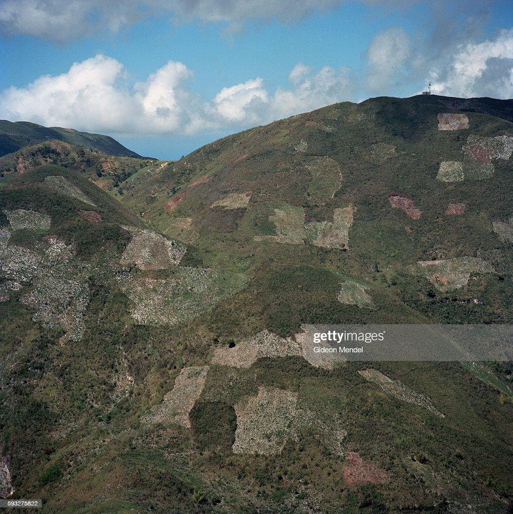 An aerial view of the denuded landscape in Haiti close to the city of Gonaives which was recently engulfed by floods during Hurricane Ike This shows...
