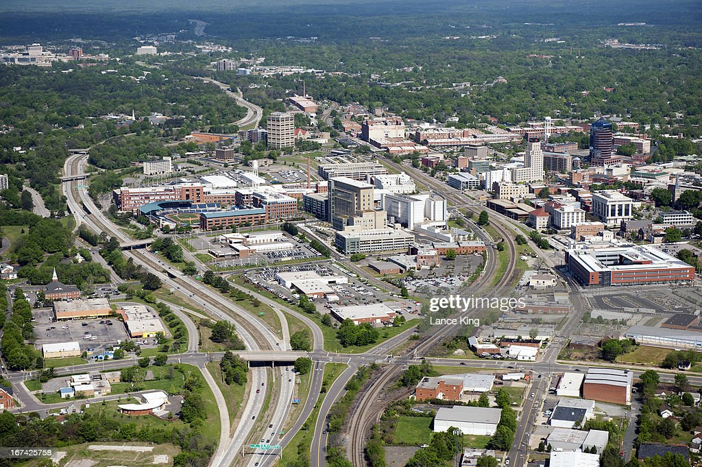 An aerial view of the downtown area of Durham, North Carolina on April 21, 2013.