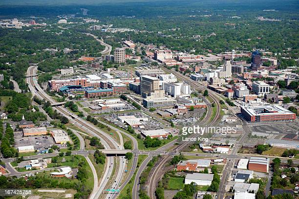 An aerial view of the downtown area of Durham North Carolina on April 21 2013