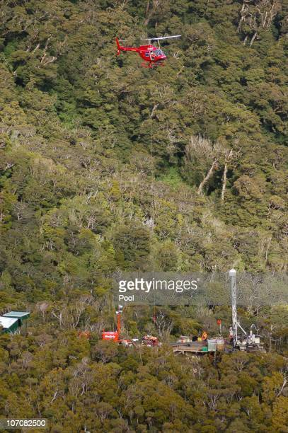 An aerial view of the drilling rig at the Pike River Coal Mine on November 23 2010 in Greymouth New Zealand Police authorities confirmed two...