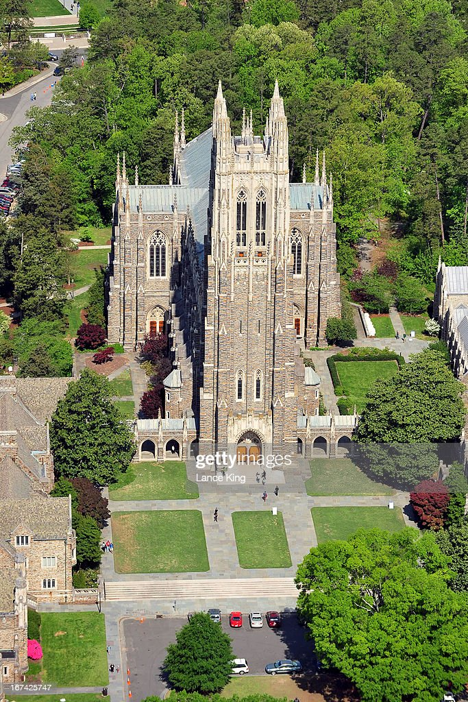 An aerial view of the Duke Chapel on the campus of Duke University on April 21, 2013 in Durham, North Carolina.
