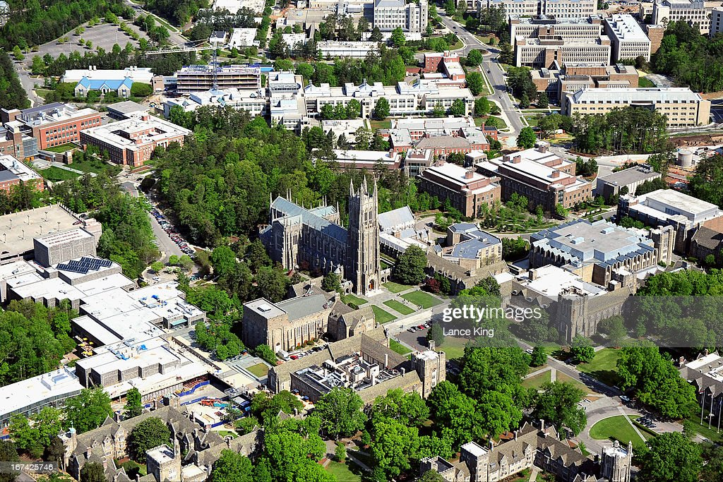 An aerial view of the Duke University campus including the Duke Chapel (center) on April 21, 2013 in Durham, North Carolina.