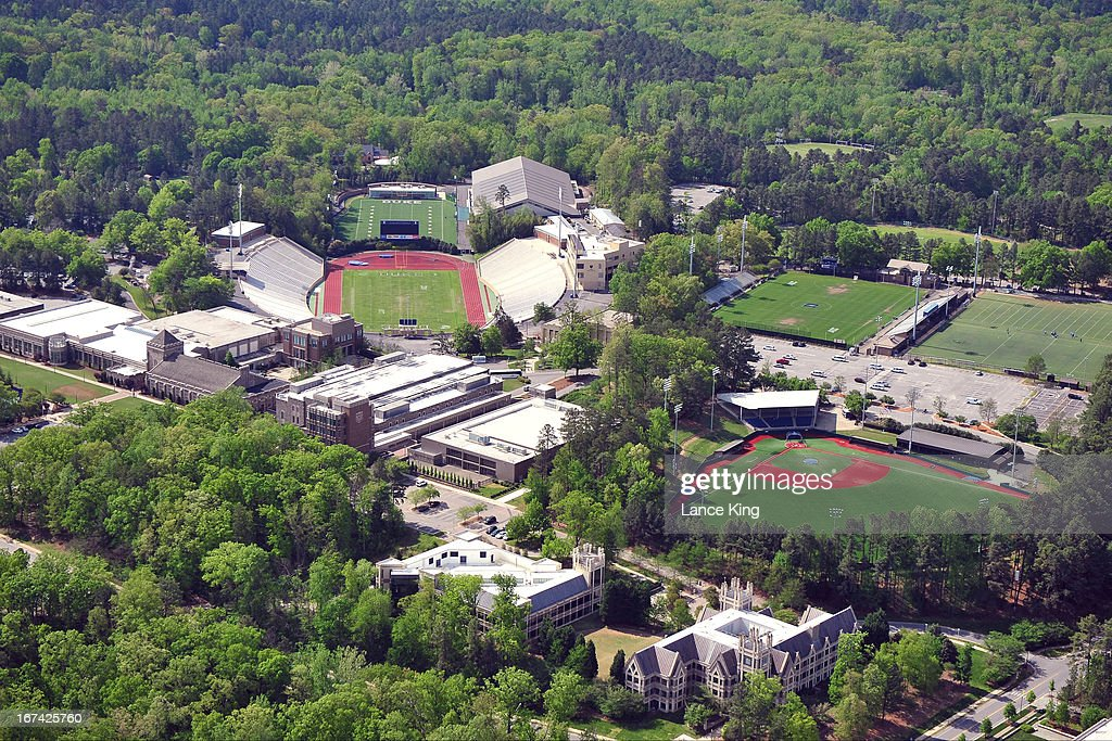 An aerial view of the Duke University campus including Wallace Wade Stadium (upper left) and Coombs Field Baseball Stadium (lower right) on April 21, 2013 in Durham, North Carolina.