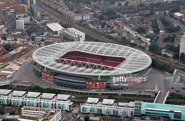 An aerial view of The Emirates Stadium home of Arsenal Football Club on July 26 2011 in London England