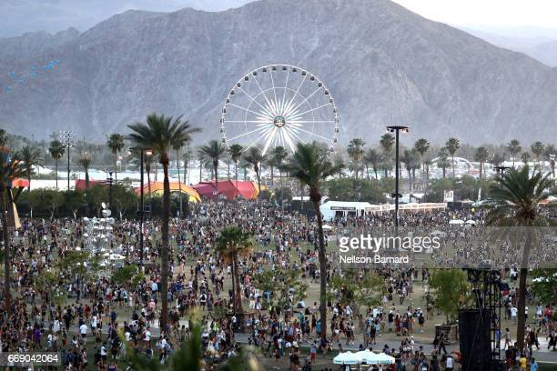 An aerial view of the Empire Polo Club during the 2017 Coachella Valley Music And Arts Festival on April 15 2017 in Indio California