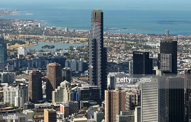 An aerial view of the Eureka Tower and Melbourne CBD is seen on February 12 2009 in Melbourne Australia