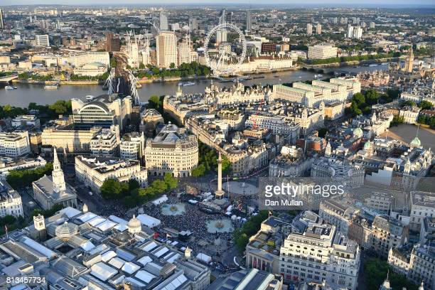 An aerial view of the F1 Live in London event at Trafalgar Square on July 12 2017 in London England F1 Live London the first time in Formula 1...