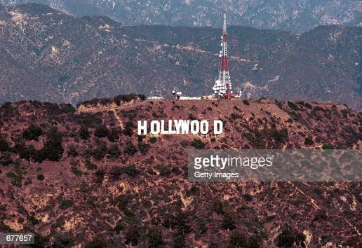 An aerial view of the famous Hollywood sign January 11 2001 in Hollywood CA