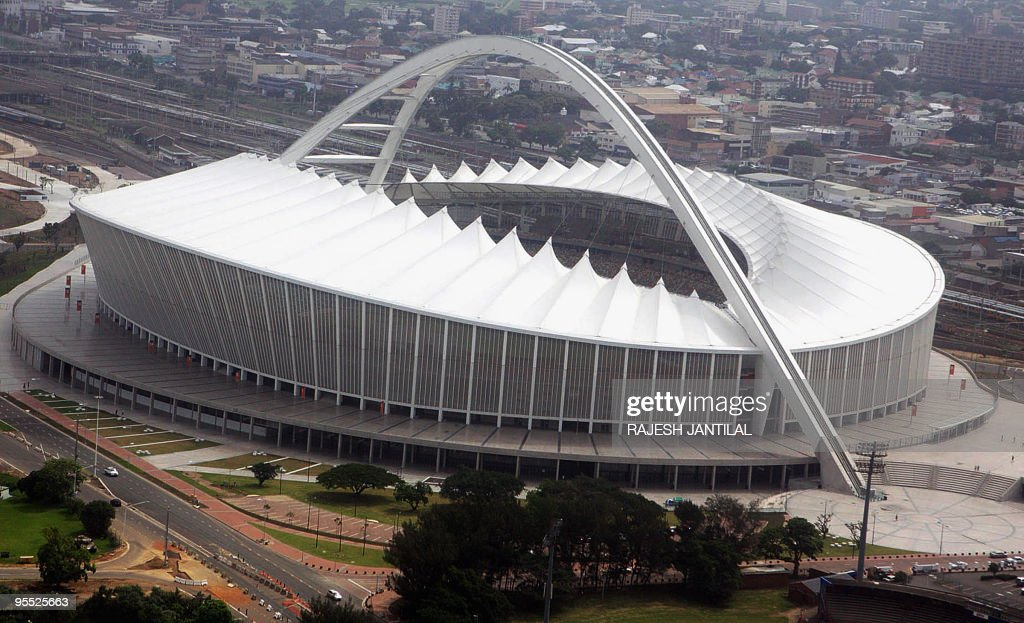 An aerial view of the FIFA WC2010 Moses Mabhida stadium in Durban South Africa is pictured on January 1 2010 The stadium is one of the 10 stadiums in...