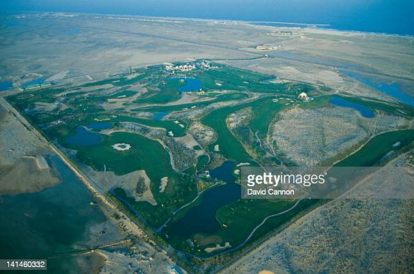An aerial view of the first green grass golf course in the Middle East on 18th February 1990 at the Emirates Golf Club in Dubai United Arab Emirates
