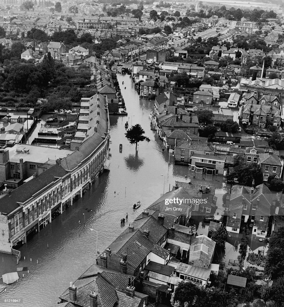 An aerial view of the floods in East Molesey, Surrey, 18th September 1968.