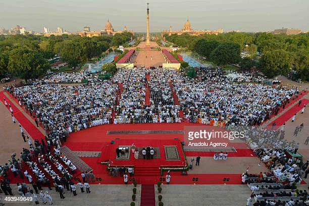 An aerial view of the forecourt of the Presidential Palace during the swearingin ceremony for new Indian Prime Minister Narendra Modi and his cabinet...
