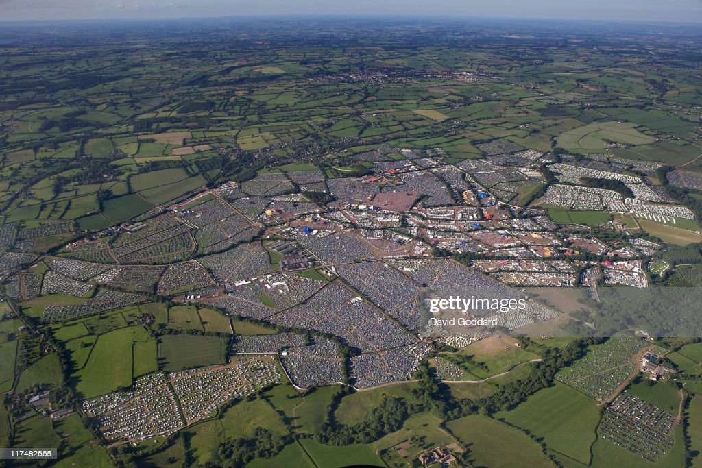 An aerial view of the Glastonbury Festival site at Worthy Farm in Pilton on June 26, 2011 in Glastonbury, England. The festival, which started in 1970 when several hundred hippies paid 1 GBP to attend, has grown into Europe's largest music festival attracting more than 175,000 people over five days.