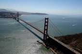 An aerial view of the Golden Gate Bridge on September 7 2013 in San Francisco California