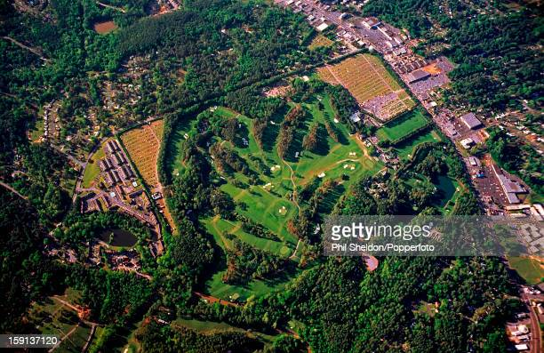 An aerial view of the golf course at the August National Golf Club in Georgia USA the home of the US Masters tournament circa April 1991