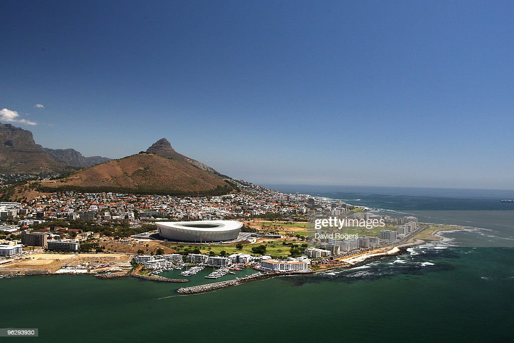 An aerial view of the Green Point Stadium which will host matches in the FIFA 2010 World Cup on the January 26 2010 in Cape Town South Africa