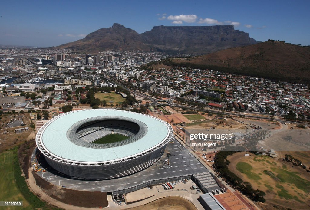 An aerial view of the Green Point Stadium which will host matches in the FIFA 2010 World Cup on January 26 2010 in Cape Town South Africa
