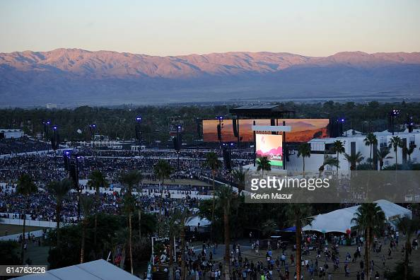 An aerial view of the grounds are seen from the Grand Wheel during Desert Trip at The Empire Polo Club on October 14 2016 in Indio California
