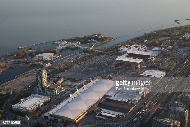 An aerial view of the grounds of the CNE at Exhibition Place and BMO Field and Ontario Place in the background on May 3 2017 in Toronto Ontario Canada