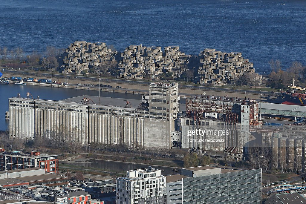 An aerial view of the Habitat 67 housing complex and Silo No. 5 are seen from above on November 18, 2012 in Montreal, Quebec.