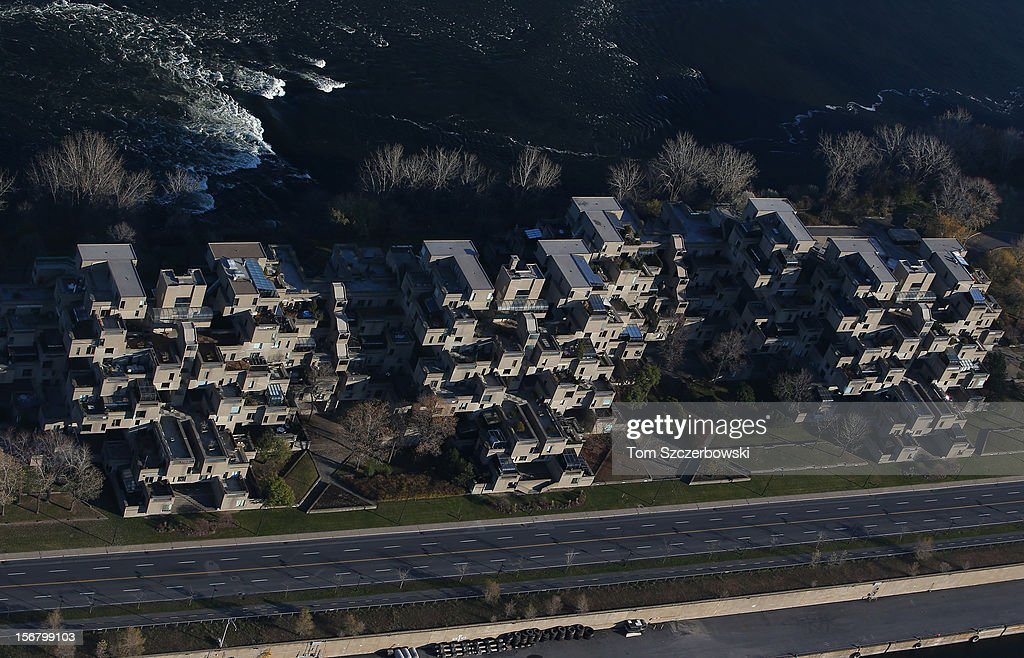 An aerial view of the Habitat 67 housing complex is seen from above on November 18, 2012 in Montreal, Quebec.