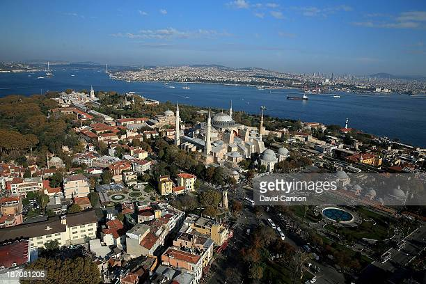 An aerial view of the Hagia Sophia in the Old City of Istanbul on November 5 2013 in Istanbul Turkey