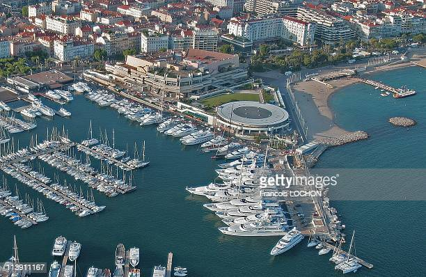 An aerial view of the harbour wharf and the Film Festival Palace in 2007 in Cannes France