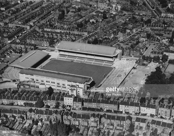 An aerial view of the Highbury Stadium football ground home to the Arsenal football club and the streets and houses surrounding it in North London on...