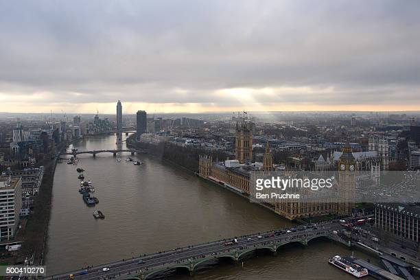 An aerial view of The Houses of Parliament as seen from the London Eye December 7 2015 in London United Kingdom