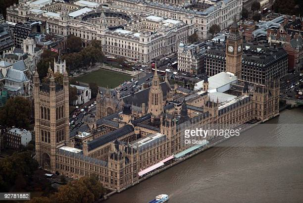 An aerial view of the Houses of Parliament on November 4 2009 in London England The UK's capital city is home to an population of over 75 million...