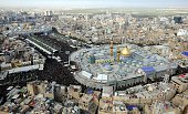 An aerial view of the Imam Abbas Shrine and Imam Hussein Shrine is seen as Shiite pilgrims gather for the Arbaeen ceremony in the Iraqi city of...