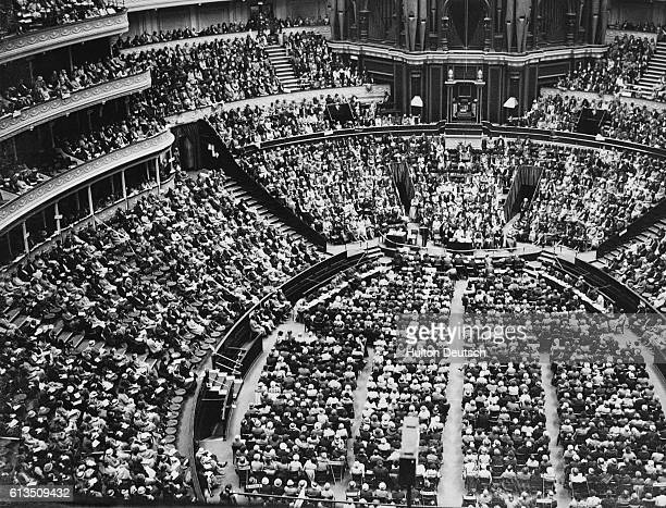 An aerial view of the interior of London's Royal Albert Hall with representatives of the 5000 Women's Institutes from across England and Wales...