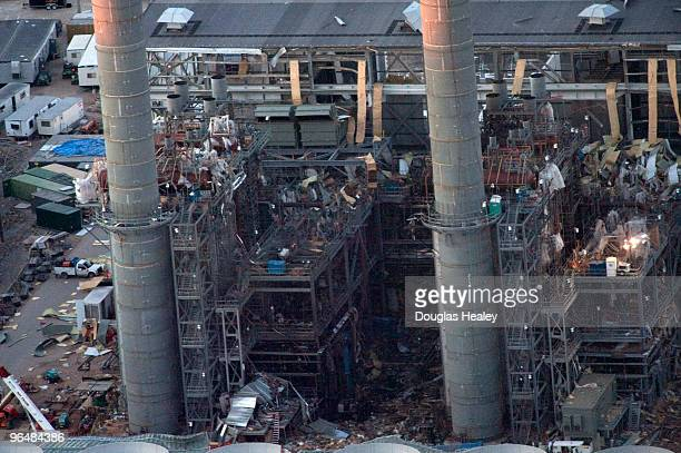 An aerial view of the Kleen Energy Systems plant where an explosion took place earlier today is seen February 7 2010 in Middletown Connecticut At...