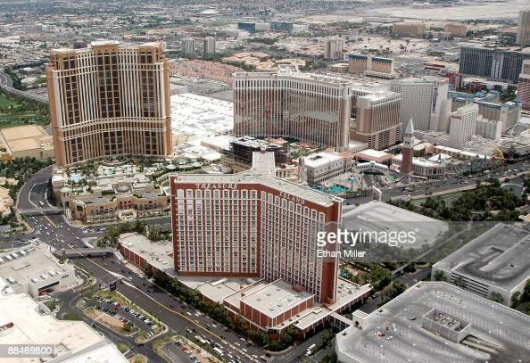 An aerial view of the Las Vegas Strip including the Treasure Island Hotel Casino June 12 2009 in Las Vegas Nevada