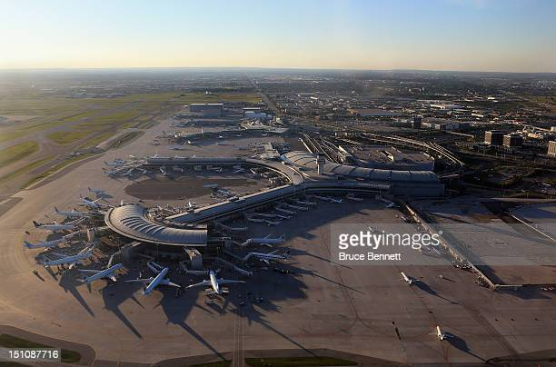 An aerial view of the Lester B Pearson airport as photographed from an airplane on August 28 2012 in Toronto Canada