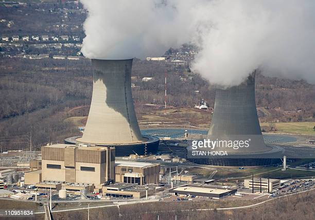 An aerial view of the Limerick Generating Station a nuclear power plant in Pottstown Pennsylvania March 25 2011 Limerick consists of two boiling...
