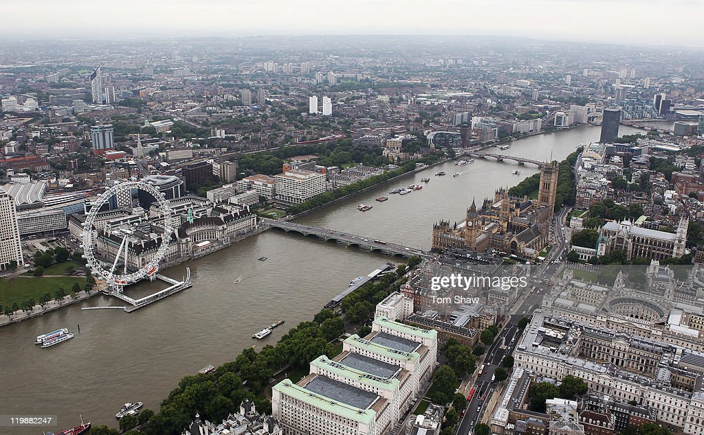 An Aerial view of the London Eye, Big Ben and the Houses of Parliament on July 26, 2011 in London, England. London will host the 2012 Olympic Games.