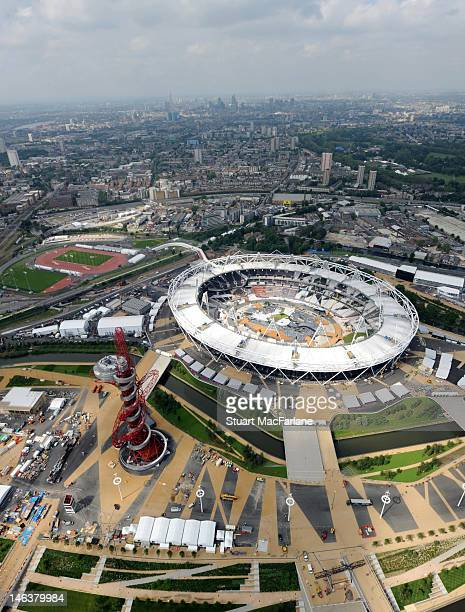An aerial view of The London Olympic Stadium and Park on June 14 2012 in London England