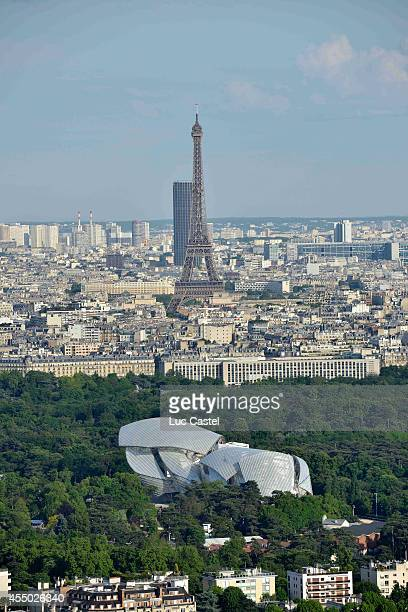 An aerial view of the Louis Vuitton Foundation designed by Frank Gehry and set up to open on October 27th 2014 on May 19 2014 in Paris France