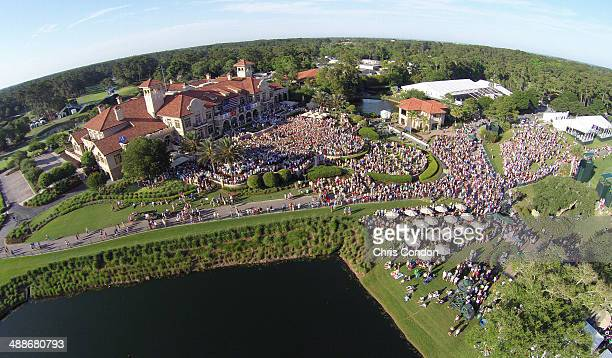 An aerial view of the military appreciation ceremony and Jake Owen concert during THE PLAYERS Championship on THE PLAYERS Stadium Course at TPC...