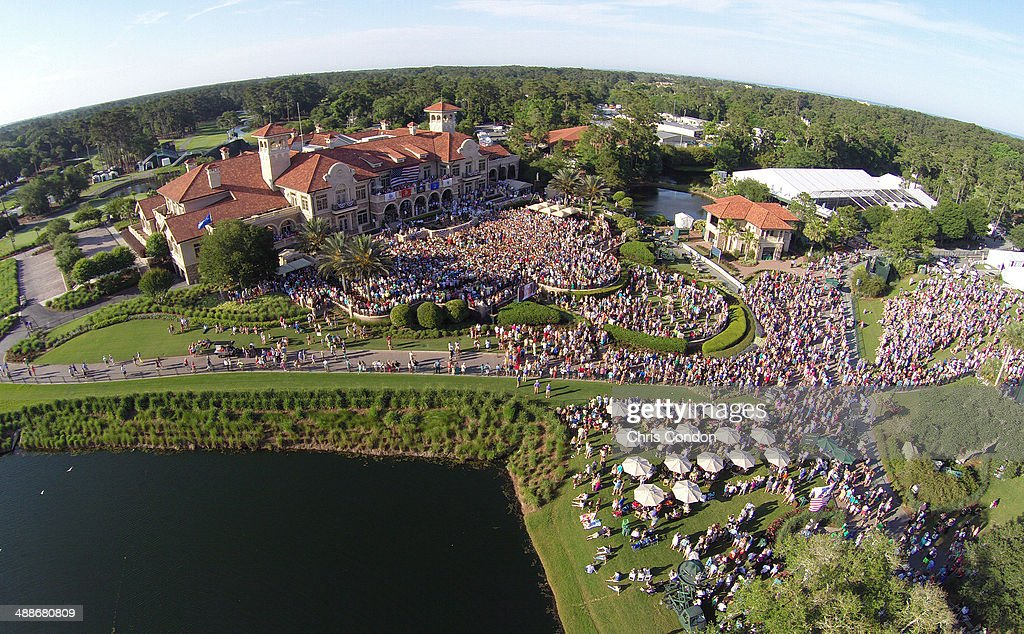 An aerial view of the military appreciation ceremony and Jake Owen concert during THE PLAYERS Championship on THE PLAYERS Stadium Course at TPC Sawgrass on May 7, 2014 in Ponte Vedra Beach, Florida.