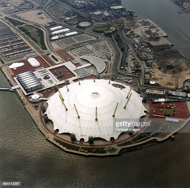 An aerial view of the Millennium Dome Greenwich London 2000 The Millennium Dome on a former gasworks site next to the River Thames in Greenwich was...