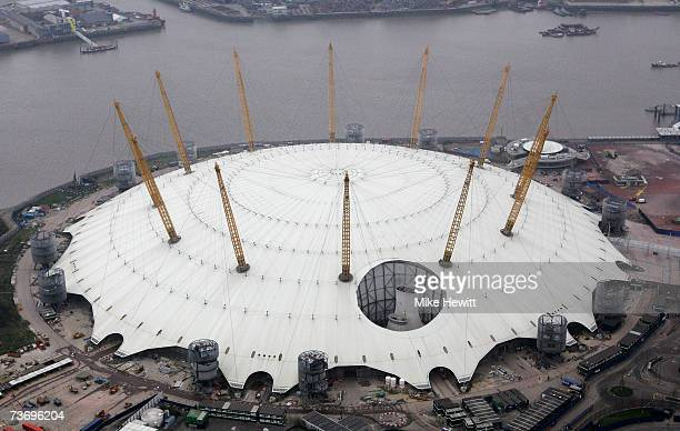 An aerial view of the Millennium Dome March 25 2007 in the East of London England