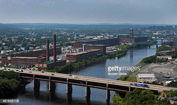 An aerial view of the mills along the Merrimack River in Lawrence with Route 495 in the foreground