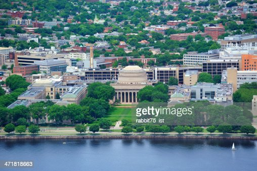 An aerial view of The MIT campus of Boston : Stock Photo