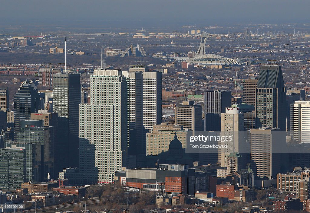 An aerial view of the Montreal skyline and Olympic Stadium in the background are seen from above on November 18, 2012 in Montreal, Quebec.