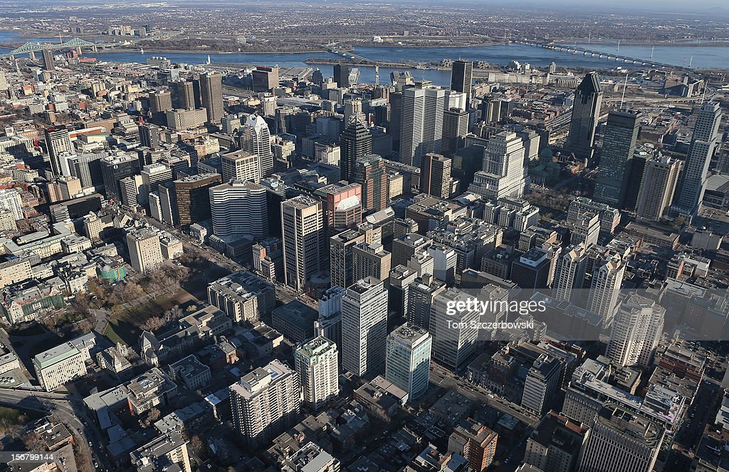 An aerial view of the Montreal skyline is seen from above on November 18, 2012 in Montreal, Quebec.