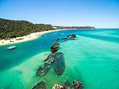 Shipwrecks at Moreton Island off the coast of Brisbane in Queensland, Australia