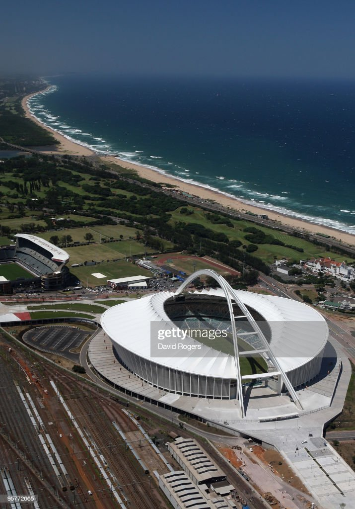 An aerial view of the Moses Mabhida Stadium which will host matches in the FIFA 2010 World Cup on January 14 2010 in Durban South Africa