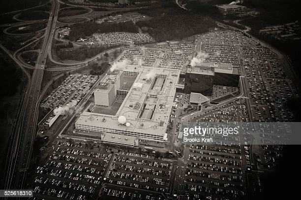 An aerial view of the National Security Agency headquarters in Fort Meade Maryland outside Washington DC The NSA is the central producer and manager...